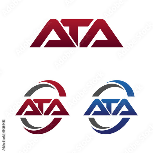 Photo Modern 3 Letters Initial logo Vector Swoosh Red Blue ata