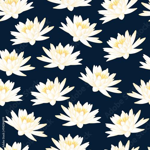 Fotografia, Obraz  water lily navy blue pattern