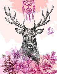 Panel Szklany Boho hand drawn deer