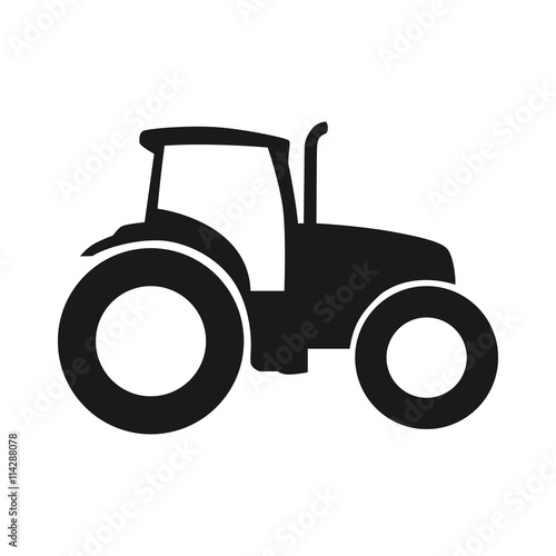 Tractor vector icon. Pictogram tractor, side view Wall mural