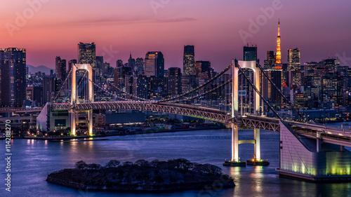 Foto op Aluminium Tokio 東京都心の夕景・レインボーブリッジと東京タワー