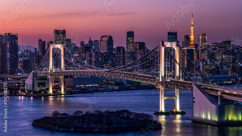 Foto op Canvas Tokio 東京都心の夕景・レインボーブリッジと東京タワー