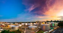 Industrial Oil Tanks In A Refi...