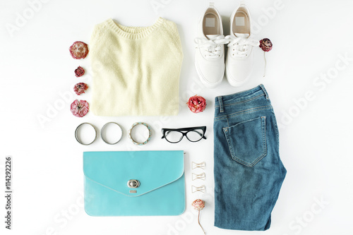 Flat Lay Feminini Clothes And Accessories Collage With Cardigan