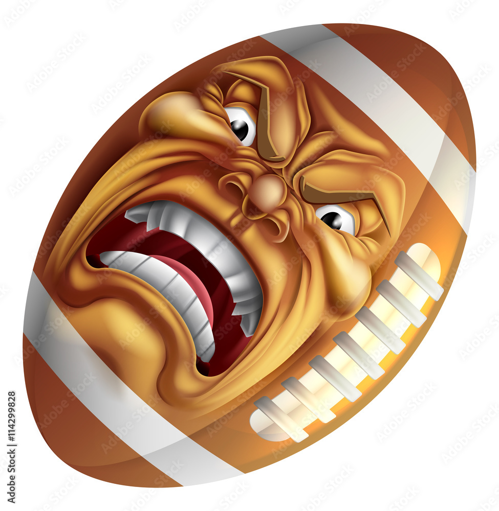 Photo  Angry American Football Ball Sports Cartoon Mascot