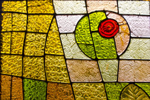 Rectangular And Round Stained Glass Window With Red Rose. Abstract Geometric Colorful Background.