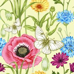 Obraz na SzkleFloral vintage seamless pattern