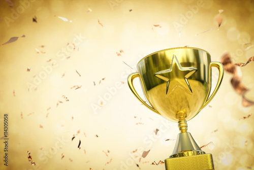 gold star trophy on gold glitter background Wallpaper Mural