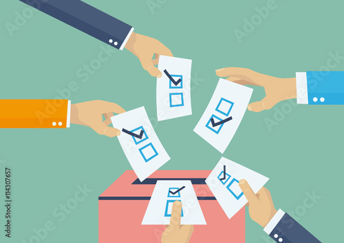 Fototapeta Elections voting, politics and elections illustration, hands leaving votes obraz