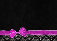 Pink Bow With Sheer Ribbon On Damask Border