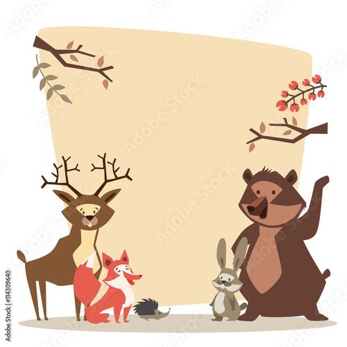 Foto op Canvas Schepselen Forest animals. vector. illustration. space for text