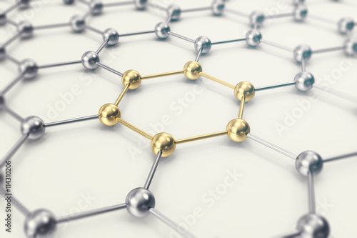 Molecules connected, crystallized in the hexagonal system. 3d illustration