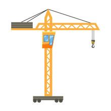 Orange Hoisting Crane Icon, Ca...