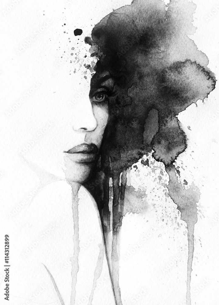 Fototapety, obrazy: abstract woman portrait. watercolor illustration