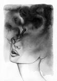 streszczenie portret kobiety. akwarela ilustracja - 114312882