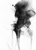 abstract woman portrait. watercolor illustration  - 114312899