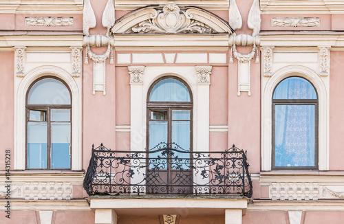 Balcony On Facade Of Urban Apartment