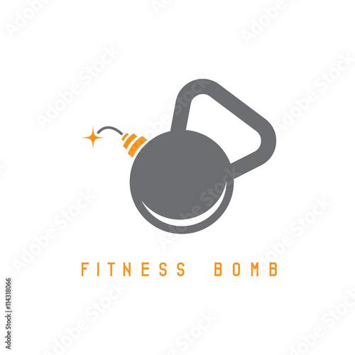 Photo  kettlebell bomb fitness concept vector design template