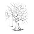 canvas print picture - Gezeichneter Baum mit Schaukel
