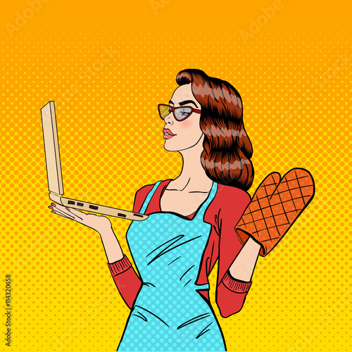 Fotobehang Pop Art Young Housewife in Gloves and Apron with Laptop. Pop Art. Vector illustration