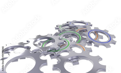 Photo  metal gear wheel set isolated white background - 3d illustration