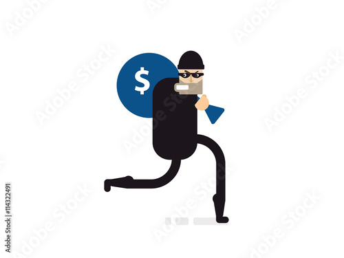 Cuadros en Lienzo isolated illustration thief with bag of money