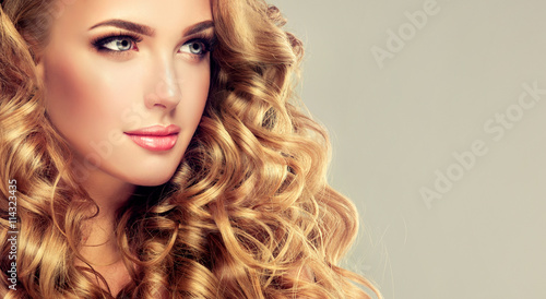 Beautiful Girl With Long Wavy Hair Blonde Model With Curly