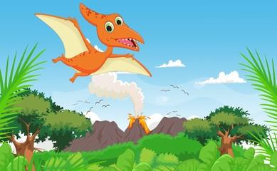 cute pterodactyl cartoon fl...