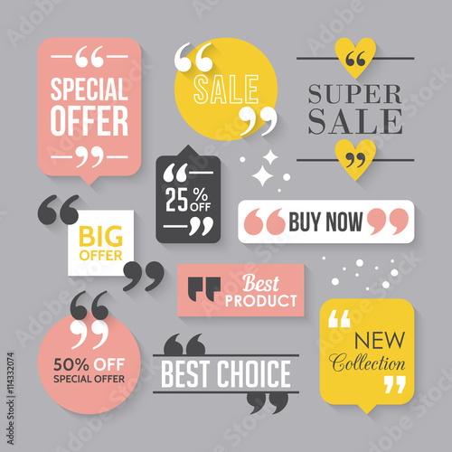Modern block quote and pull quote sale sign design elements. Cre