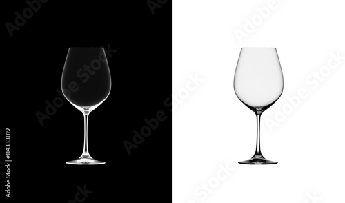 Foto auf AluDibond Alkohol Empty wine glass. isolated on a black and white background. 3D illustration