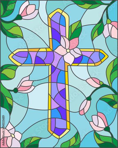 witraz-ilustracja-z-krzyzem-w-niebie-i-kwiatach