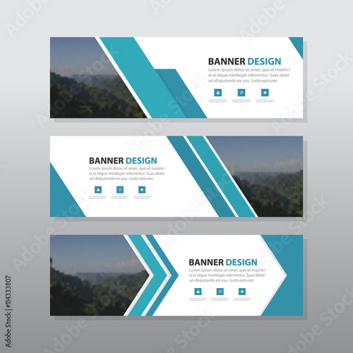 Fotografía  Blue abstract corporate business banner template, horizontal advertising busines