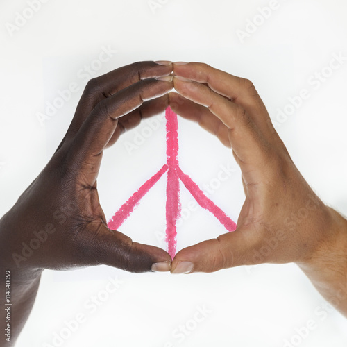 Stampe  Interracial hands  forming  symbol of peace. White background