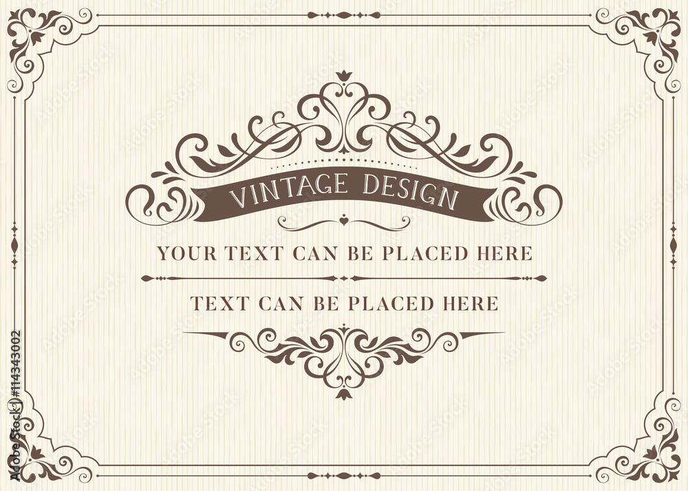 Fototapeta Ornate vintage card design with ornamental flourishes frame. Use for wedding invitations, royal certificates, greeting cards, menus, covers, posters, brochures and flyers. Vector illustration.