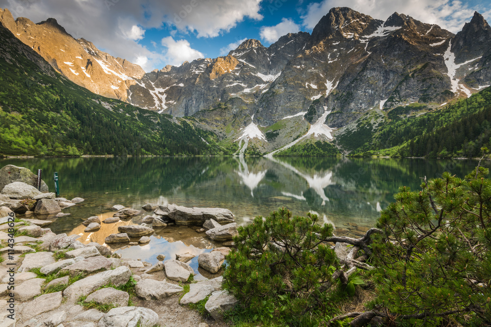 Fototapety, obrazy: sunset in high mountains and apline lake