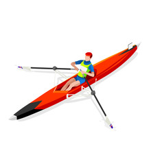 Olympics Canoe Rowing Single Summer Games Icon Set.3D Isometric Canoeist Paddler.Rowing Canoe Single Paddler Sporting Competition Race.Olympics Sport Infographic Canoe Rowing Vector Illustration