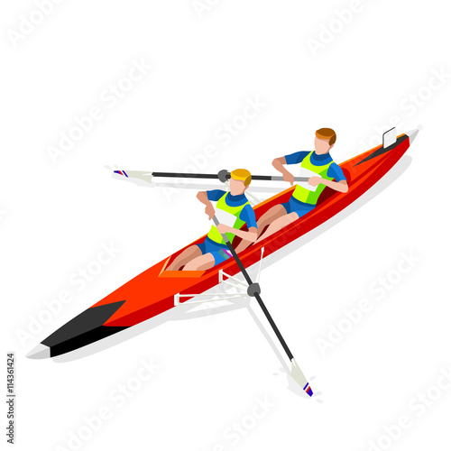 Olympics Canoe Sprint Rowing Coxless Pair Summer Games Icon Set Fotobehang