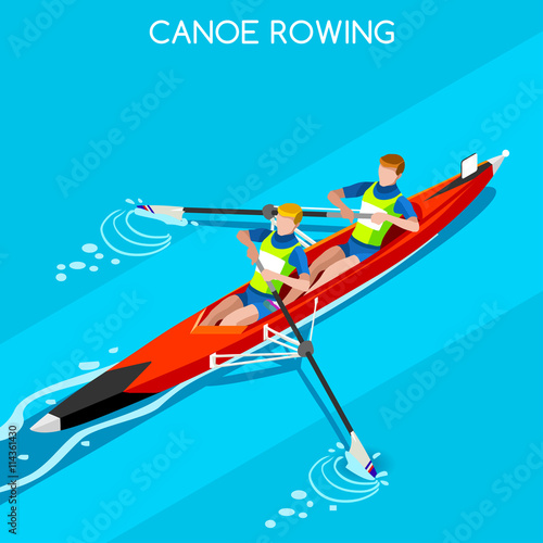Olympics Canoe Sprint Rowing Coxless Pair Summer Games Icon Set Fototapete