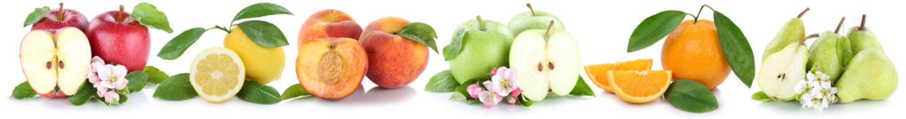 Früchte Apfel Orange Zitrone Pfirsich Äpfel Orangen frische Fr