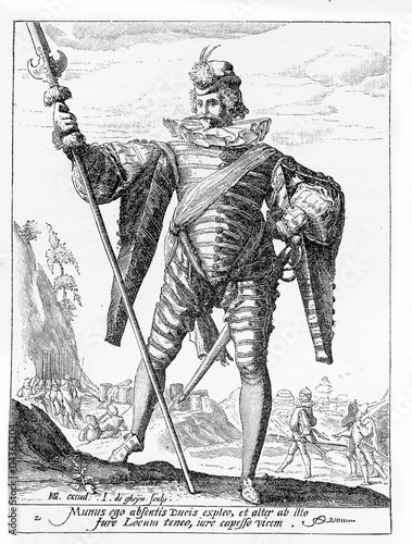 1600, illustration depicting a guard with spear and sword of Rudolf II of Habsbu Tablou Canvas