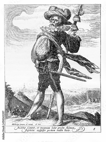 Fotografie, Obraz  1600, illustration depicting a guard with spear and sword of Rudolf II of Habsbu