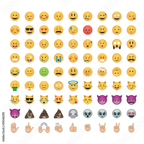 Photographie Set of  emoticon vector isolated on black background