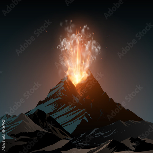 Cuadros en Lienzo Volcano illustration