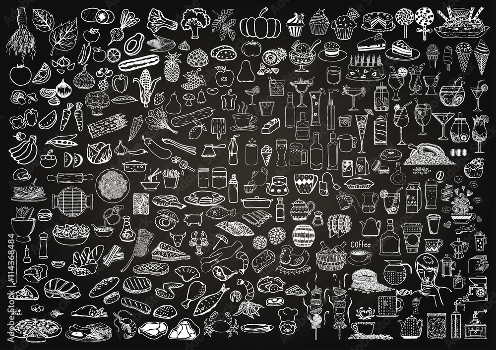Fototapety, obrazy: Set of food and drinks doodle on chalkboard background.