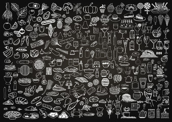 Fototapeta Set of food and drinks doodle on chalkboard background.