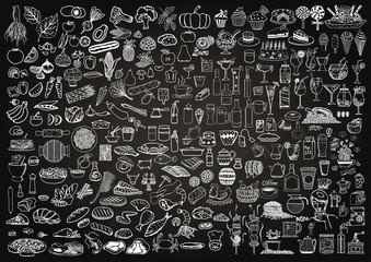 Fototapeta samoprzylepna Set of food and drinks doodle on chalkboard background.