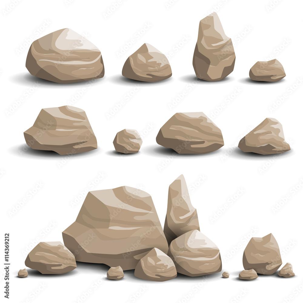 Fototapety, obrazy: Vector Illustration of Cartoon Game Art Rocks and Stones