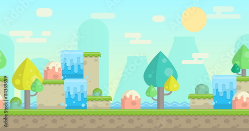 Printed kitchen splashbacks Light blue Seamless parallax effect ready fantasy mountain background for mobile apps and design. Sunny bright landscape with mountains, waterfalls, bodies of water, trees and rocks.