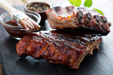 Grilled Pork Baby Ribs With Bbq Sauce