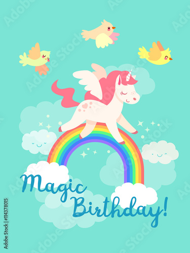 Poster Pony Fairytale happy birthday card with flying Unicorn in vector. Yellow birds, rainbow and clouds. Cute pegasus in cartoon style. Magical pony with horn and wings.